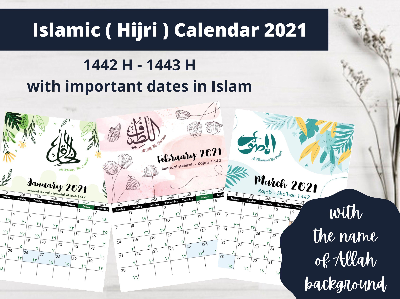 Islamic Hijri Calendar 2021 1442 H 1443 H Islamic Etsy Hijri Calendar Islam Islamic Calendar