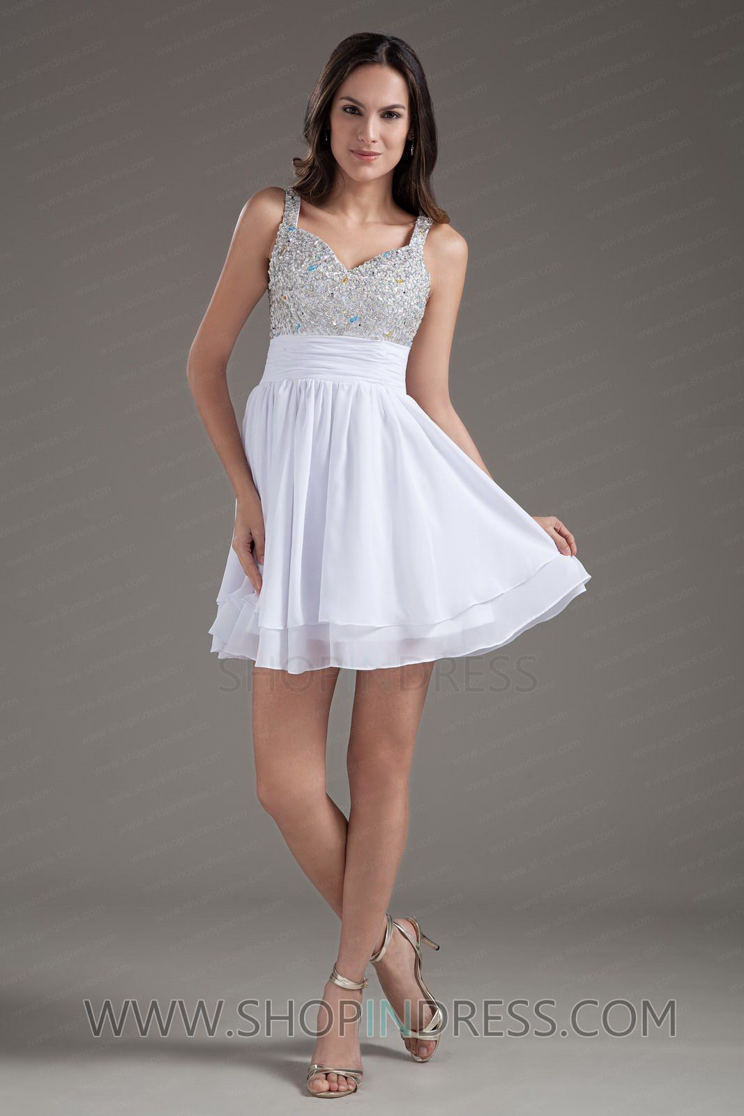Strapless Scalloped Lace Flared Short White Cocktail Dress [La ...