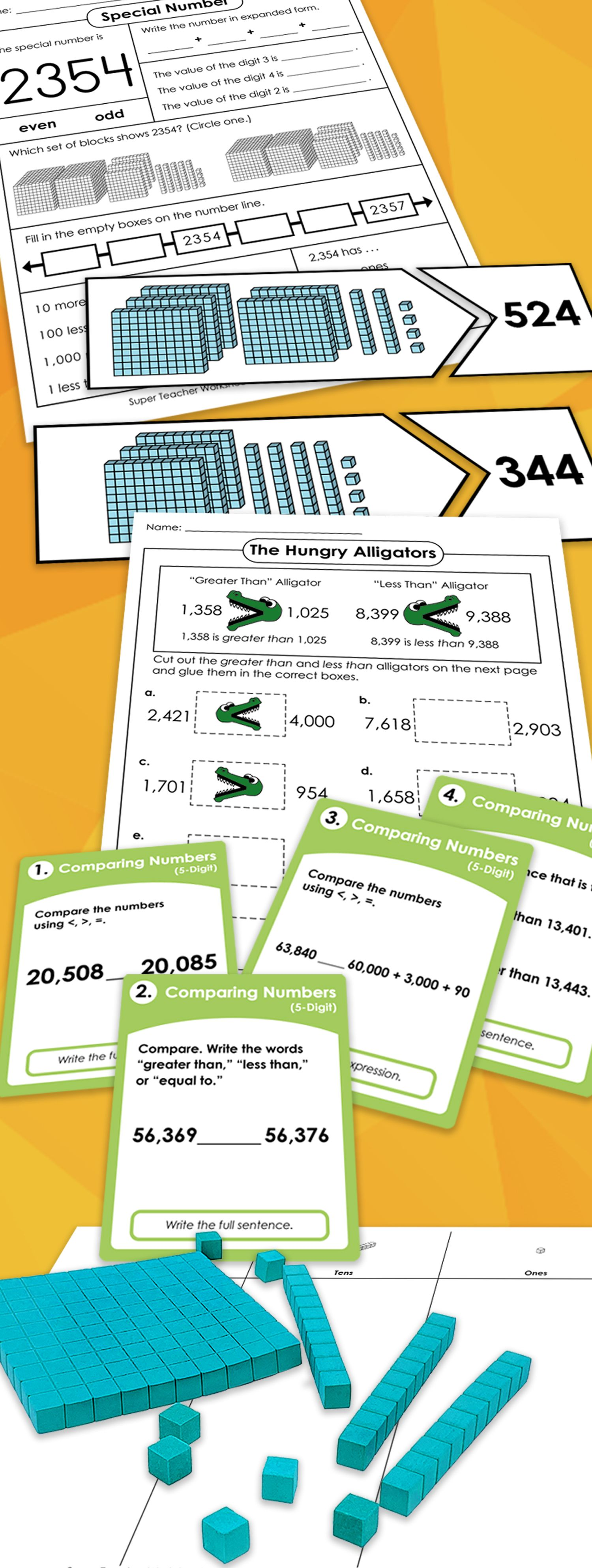 Printable Place Value Worksheets Place Value Worksheets Super Teacher Worksheets Guided Math Third Grade [ 3975 x 1500 Pixel ]