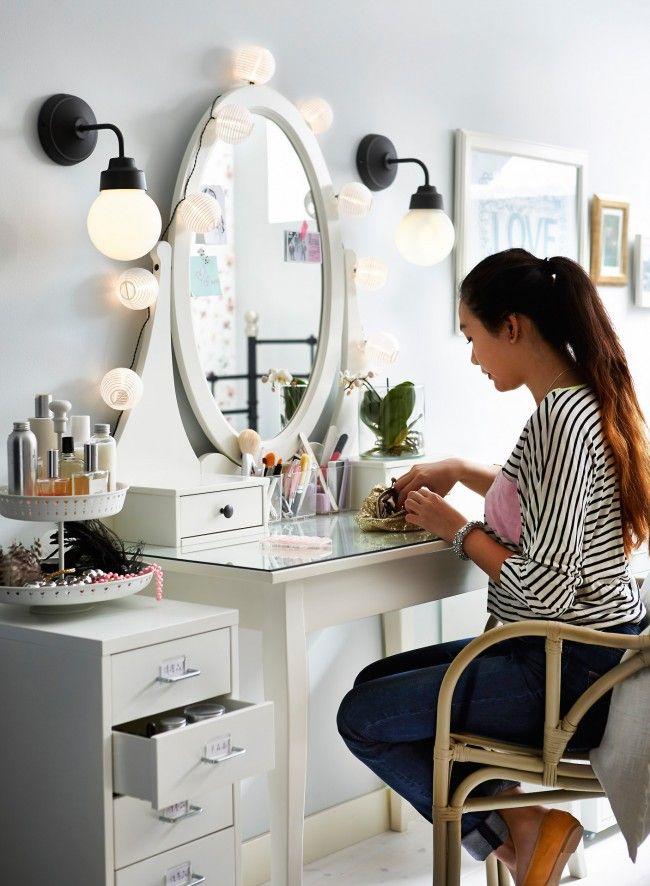Hemnes bedroom vanity google search bedroom for Coiffeuse ikea hemnes