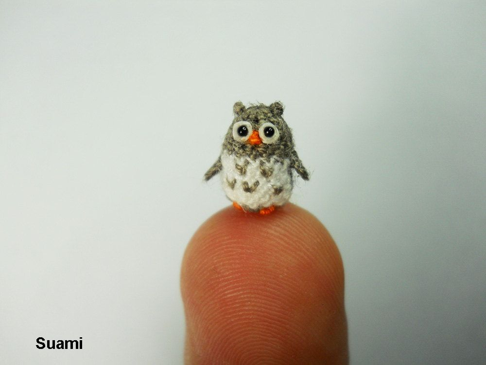 Cute Little Amigurumi Owl : Three micro mini owls tiny amigurumi crochet miniature owl plush
