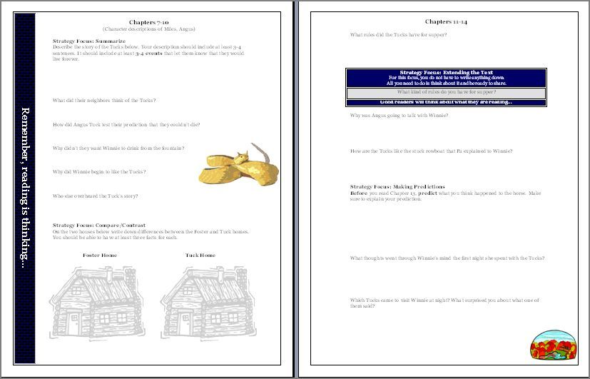 Tuck Everlasting Worksheets Teaching Resources Tuck Everlasting Reading Activities For The Novel Ela Writing Tuck Everlasting Teaching 5th Grade