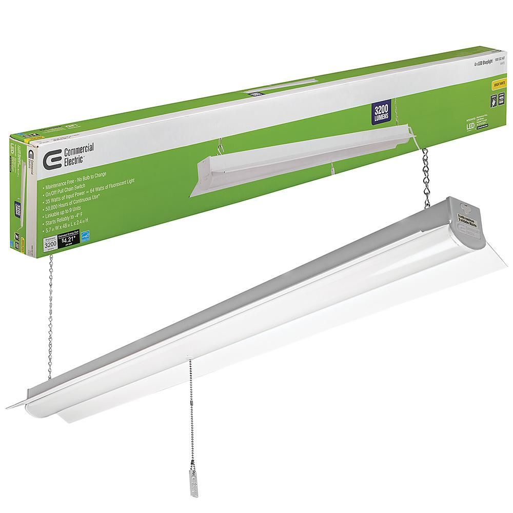 Commercial Electric 4 Ft 64 Watt Equivalent White Integrated Led