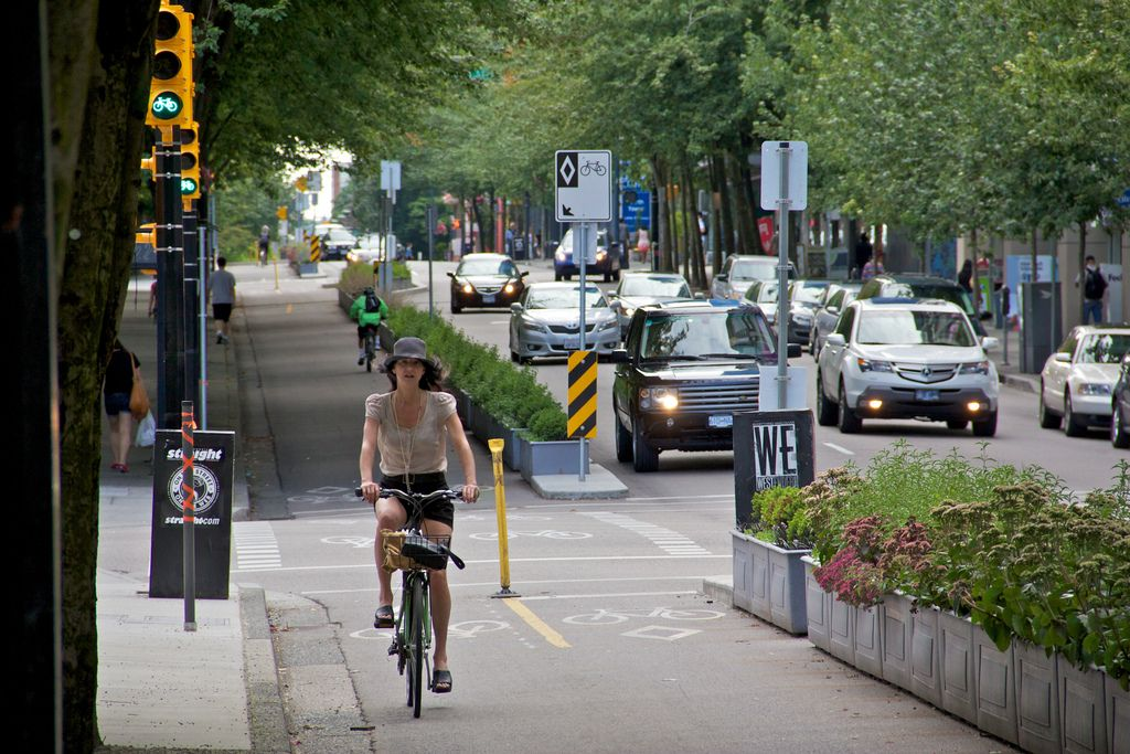 dutch bike lane merge road Vancouver
