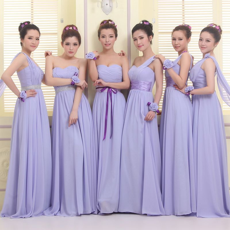 Long Purple Bridesmaid Dresses Chiffon Formal Wedding Party Gown ...