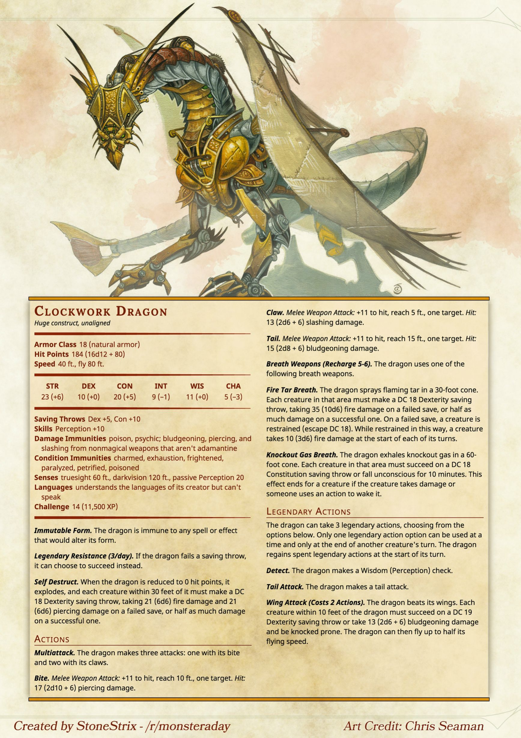 Clockwork Dragon Dnd Dnd 5e Homebrew Dnd Monsters Dnd Dragons