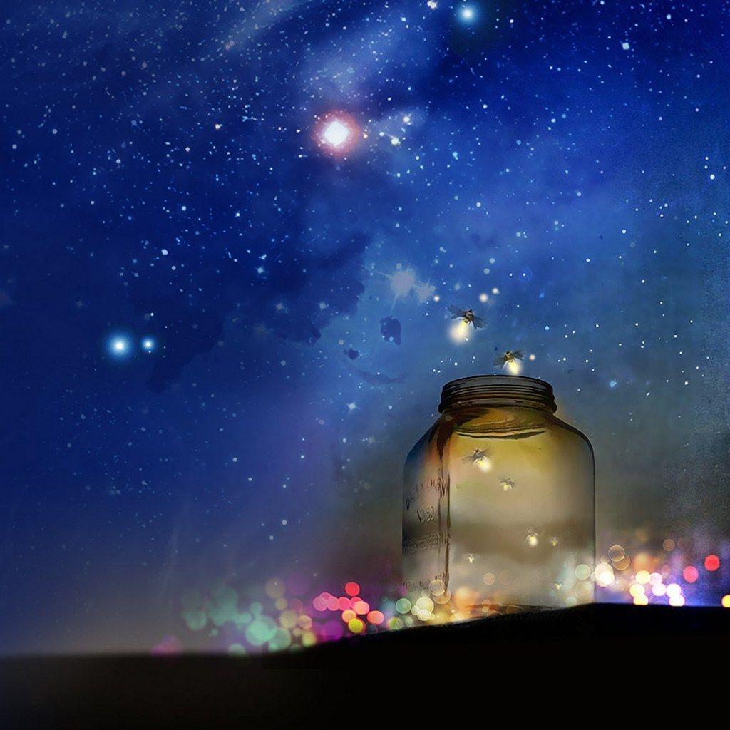 Fireflies Dance at Dusk Wallpaper, Art, Night skies