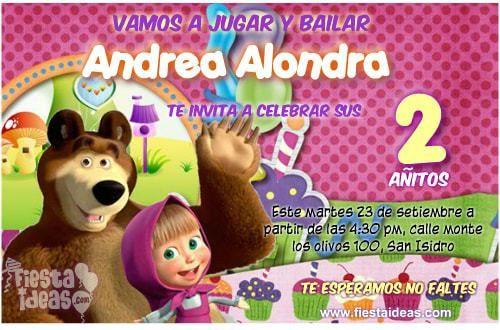 invitaciones de masha y el oso para crear en linea | invitaciones de ...