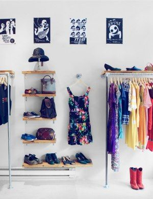 Love this idea for a small apartment/big closet- bring pieces of the closet out and on display! Citizen Vintage