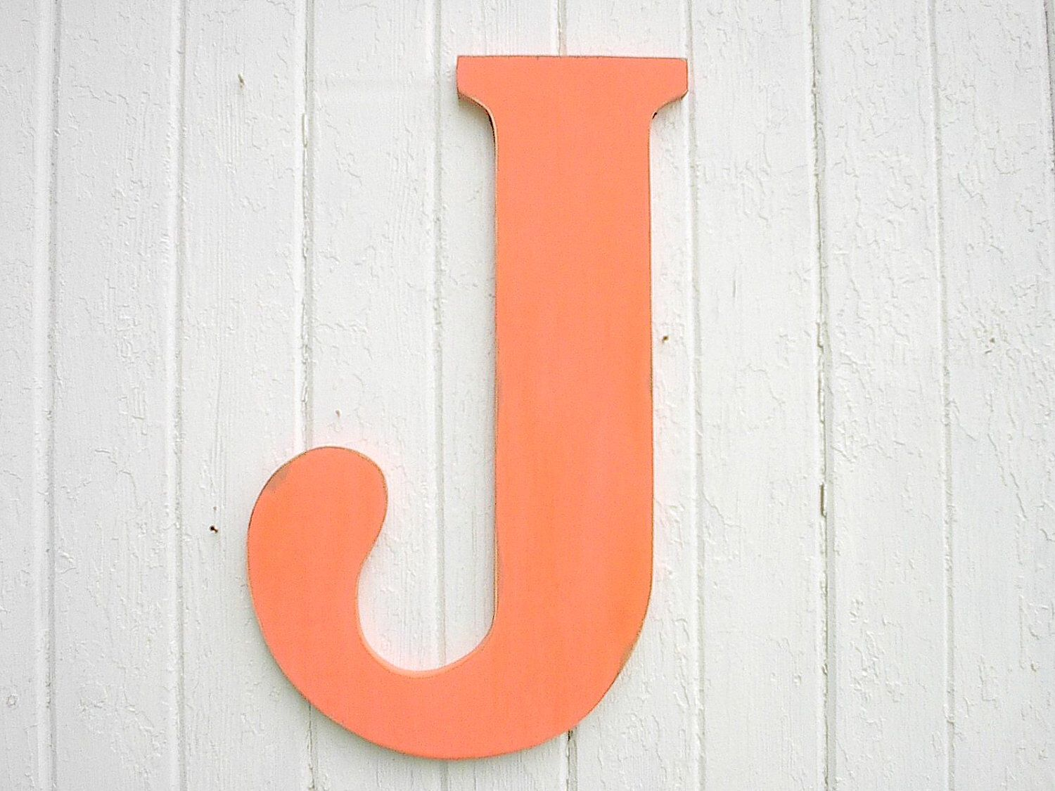 12 Inch Galvanized Letters Rustic Shabby Chic Wedding Decor Wooden Initial Letter J Coral