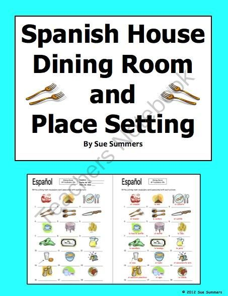 Spanish Dining Room and Table Setting 18 Image IDs Worksheet - House ...
