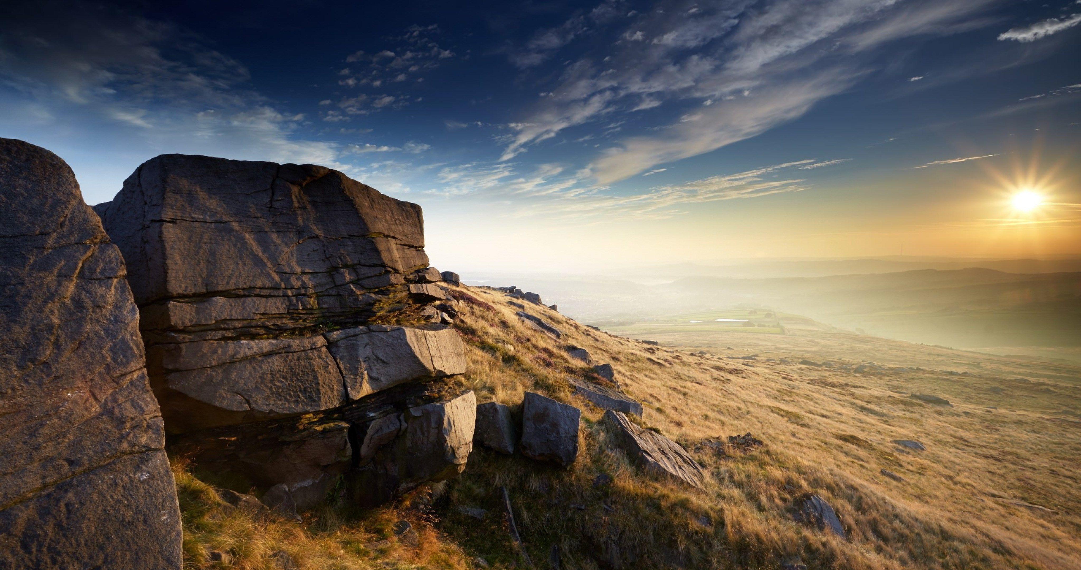 Sunset Mountain Landscape 4k Ultra Hd Wallpaper Mountain