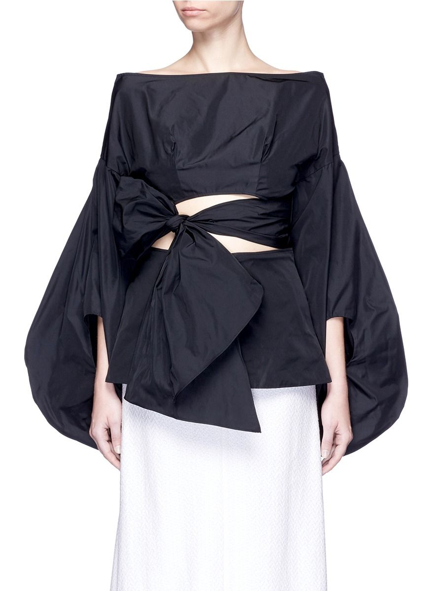 2a19c9c646d06 ROSIE ASSOULIN Fig Sleeve Cutout Tie Front Taffeta Top.  rosieassoulin   cloth  top
