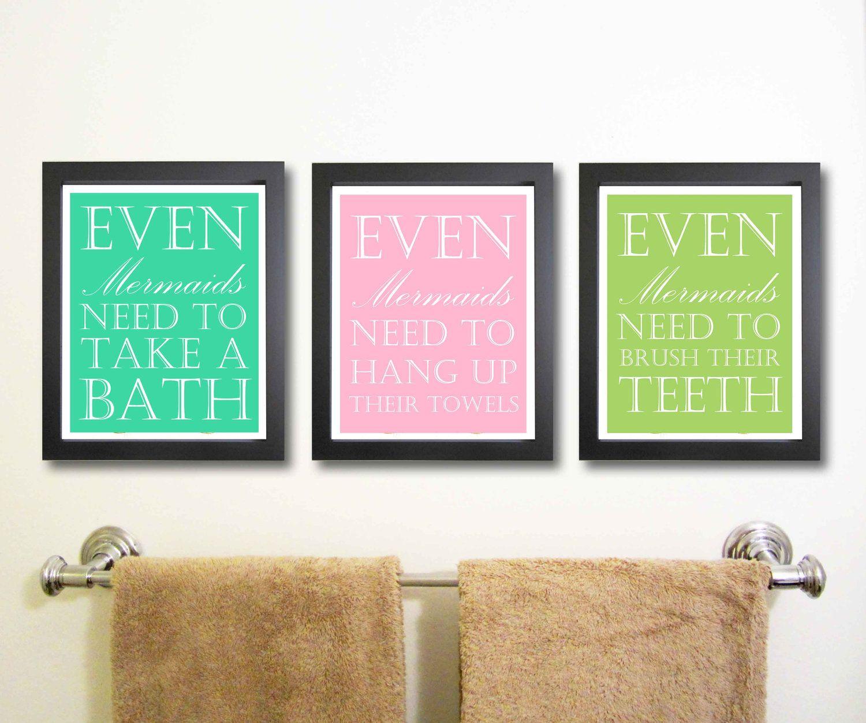 Mermaid themed bathroom - Free Printable Bathroom Art Children Decor Nursery Art Print Mermaid Art Bathroom