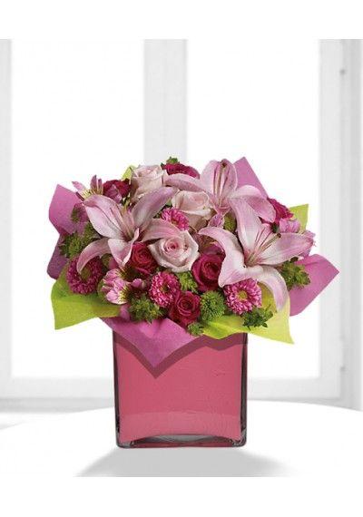 Pretty Pink Present Bouquet Flower Delivery Flower Arrangements Birthday Flower Delivery