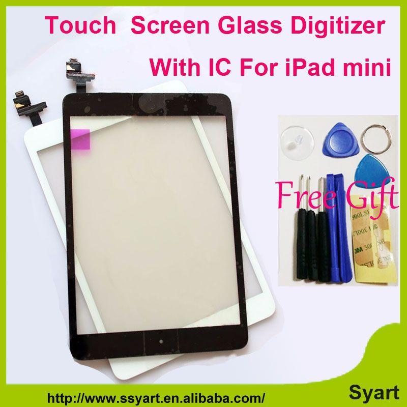 1 pezzi Bianco & Nero Sostituire Touch screen digitizer vetro del pannello lcd con home buttom con ic connettore per ipad mini/mini 2