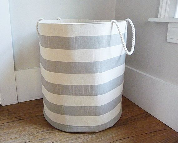Coastal Stripe Fabric Storage Laundry Hamper Canvas Basket Etsy