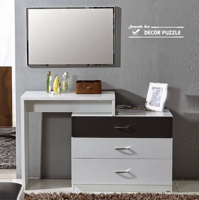 Luxury Modern White Dressing Table Designs With Mirror And