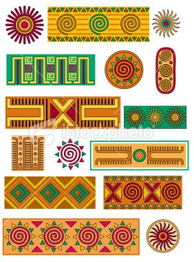 A Selection Of Mexican Influenced Patterns Motifs And Borders