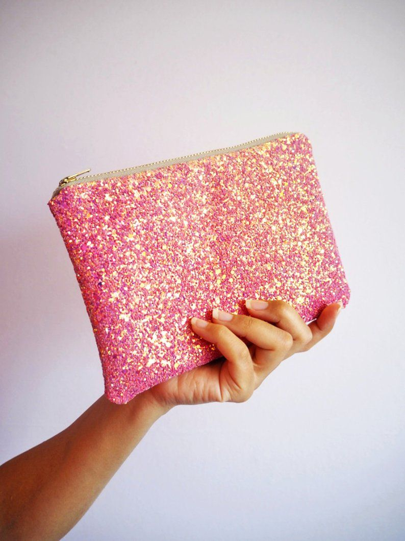 Pink Glitter Makeup Bag Pink Glitter Cosmetic Bag Sparkly