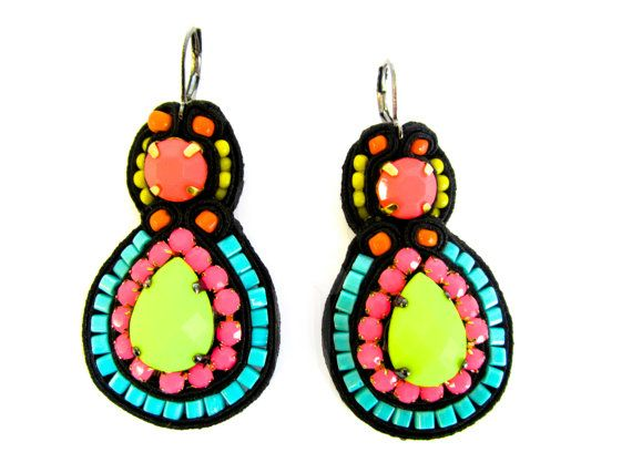 CONFETTI soutache earrings in black neon pink by BlackMarketJewels