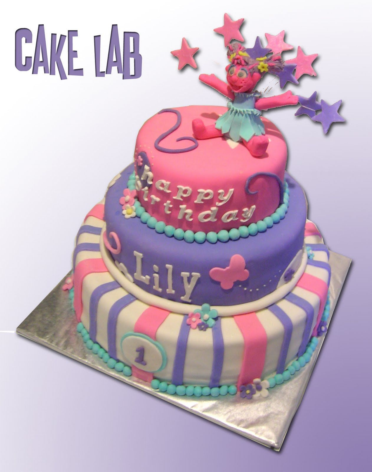 3 tiered sesame street cake for girls | ZacO Cakes: Abby Cadabby ...