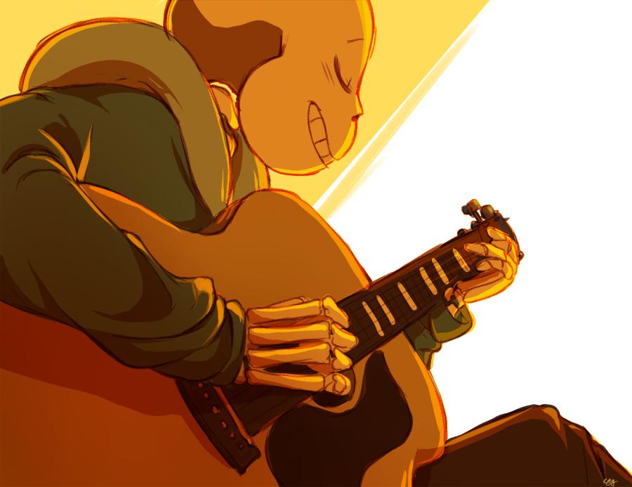 kerangka: Sans playing the guitar?? I'd say he'll fall asleep to himself playing acoustic songs (❁´ω`❁)