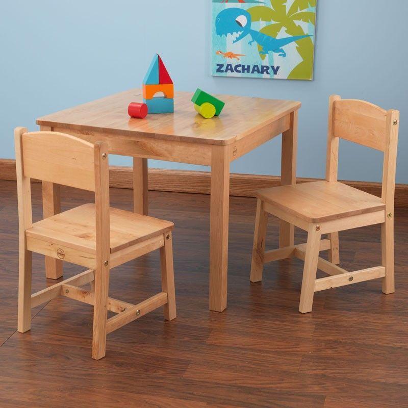 Conjunto de mesa y dos sillas para ni os y ni as en madera - Mesa y sillas para ninos de madera ...