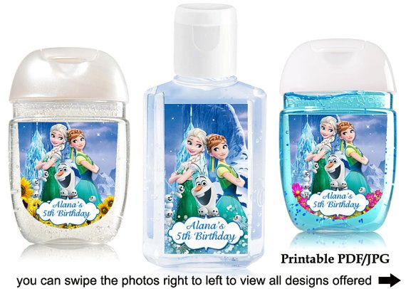 Disney Frozen Fever Hand Sanitizer Label Birthday By Sohappyshop