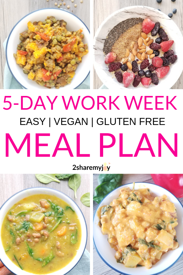 Easy 5 Day Work Week Vegan Meal Plan Gluten Free Vegan Meal Plans Vegetarian Meal Plan Cheap Healthy Meals