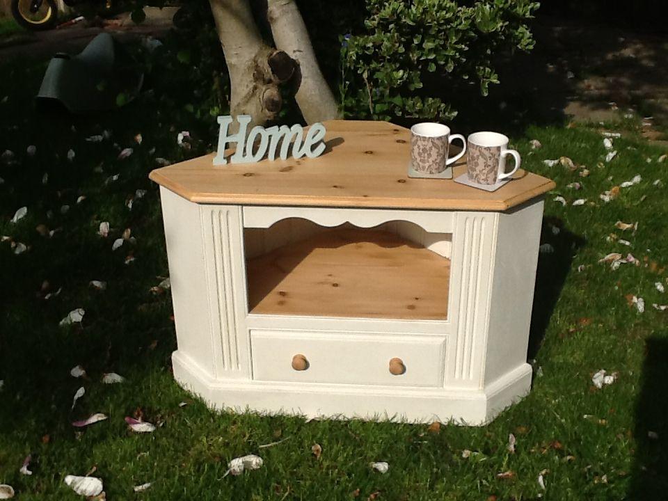 Lovely shabby chic pine corner TV cabinet   Home   Pinterest