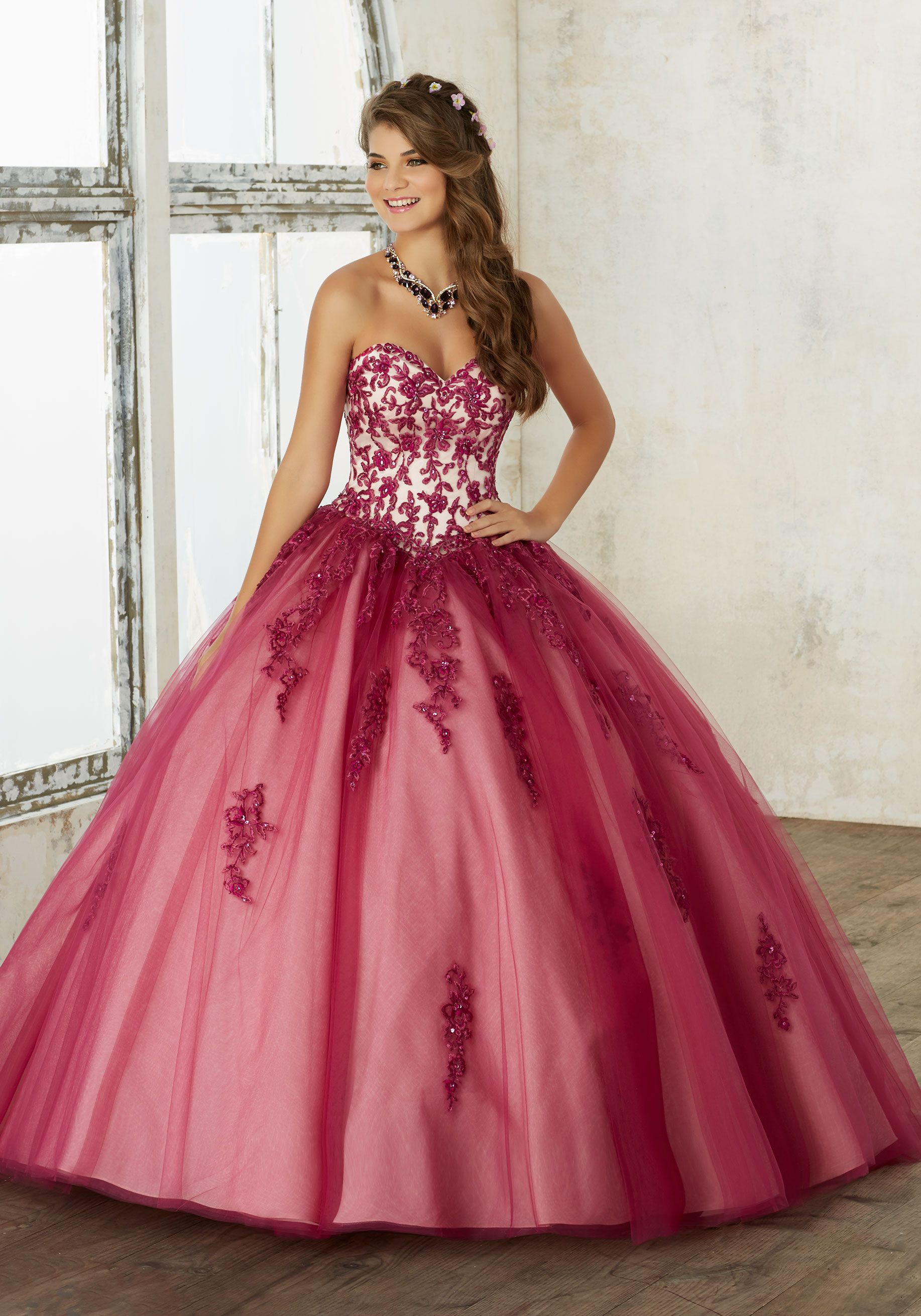 Embroidery and Beading on a Tulle Quinceañera Ball Gown | Valencia ...