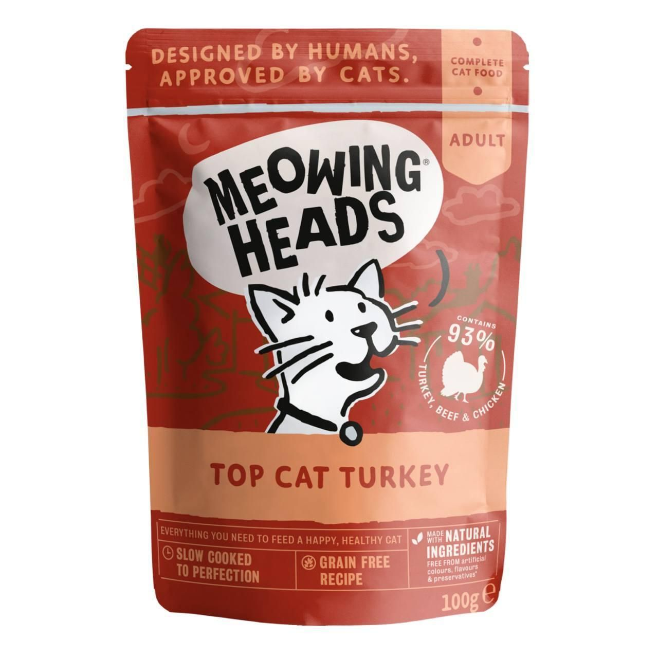 Buy meowing heads top cat turkey wet cat food pouch 100g