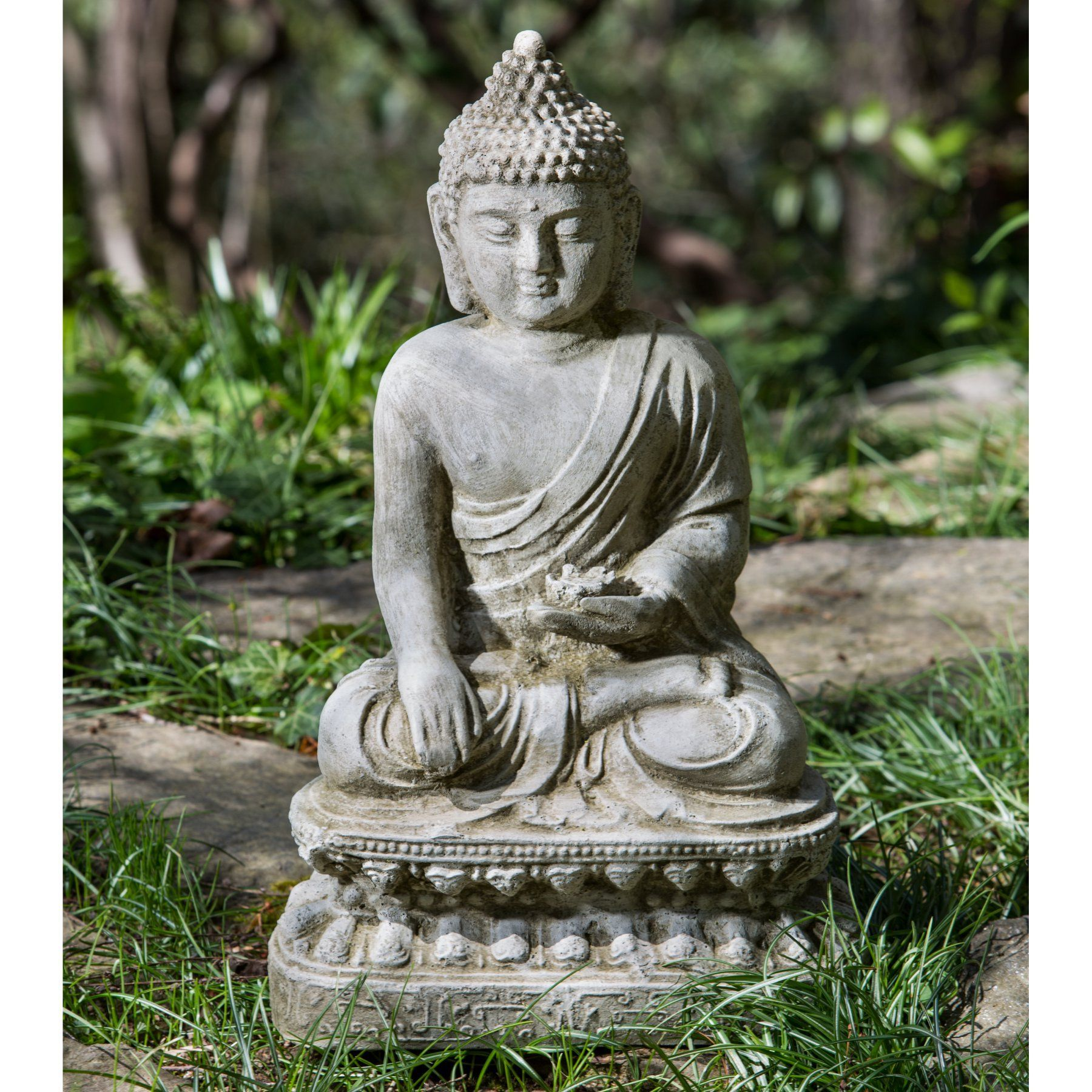 Merveilleux Campania International Seated Lotus Buddha Garden Statue   OR 134 AL