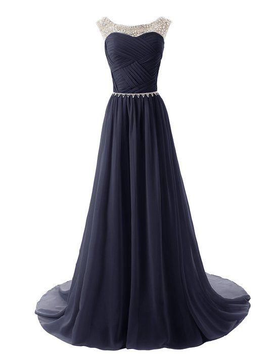 Dressystar Chiffon Beads Bridesmaid Dresses Long Prom Dress Party ...