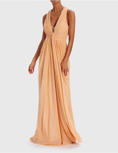 Nude Heavily Embellished Grecian Wrap Dress