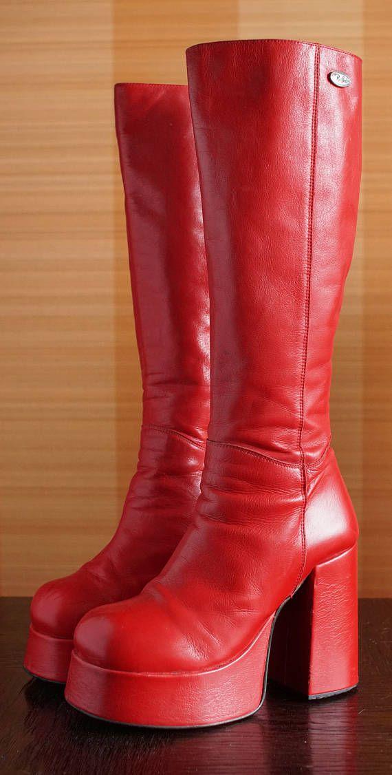Original BUFFALO Cult platform boots 24400T absolutely unique full red  leather t-24400 38 EUR d63128164902e