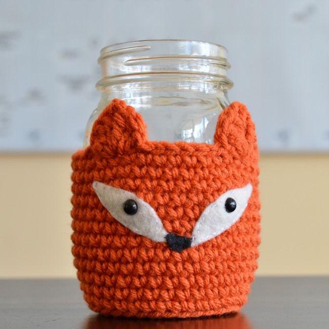 Free crochet pattern - mason jar cozy | Crocheting | Pinterest ...