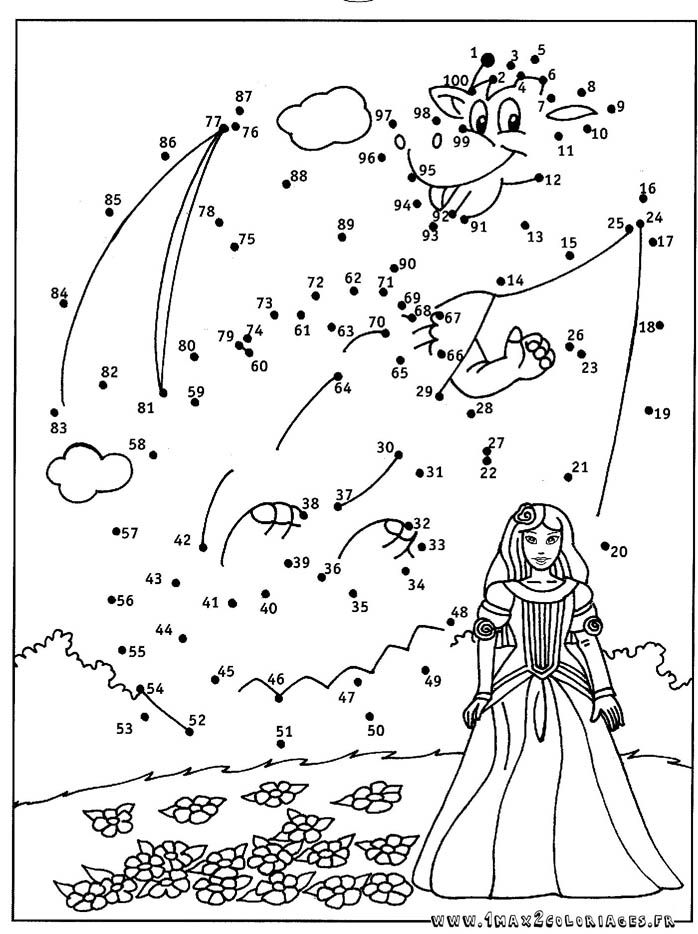 Coloriage point a point princesse et le dragon point - Points a relier ce1 ...