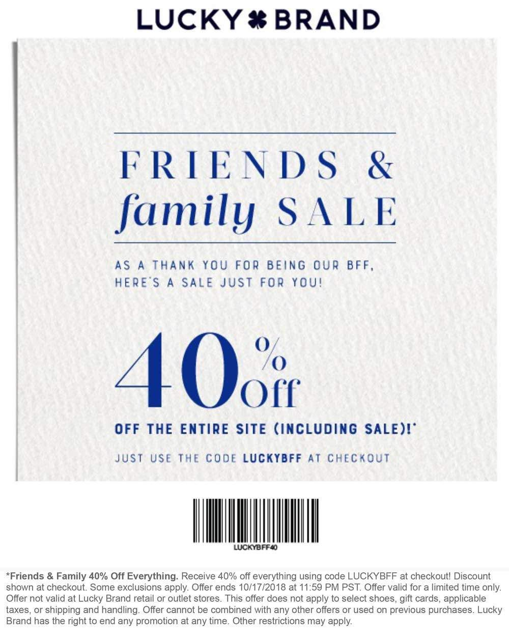 Pinned October 12th Everything Is 40 Off At Luckybrand Or Online Via Promo Code Luckybff Thecouponsapp Shopping Coupons Lucky Brand Coupons