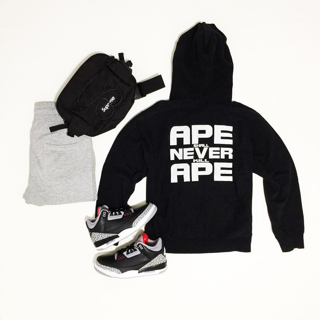 "3853f41a3fd @gqnerd on Instagram: ""Cozy (monotone) Friday . . A Bathing Ape ""ASNKA""  Hoodie (circa 2006) Supreme Waistbag (SS17) H&M Joggers Nike Air Jordan 3 "" Black ..."