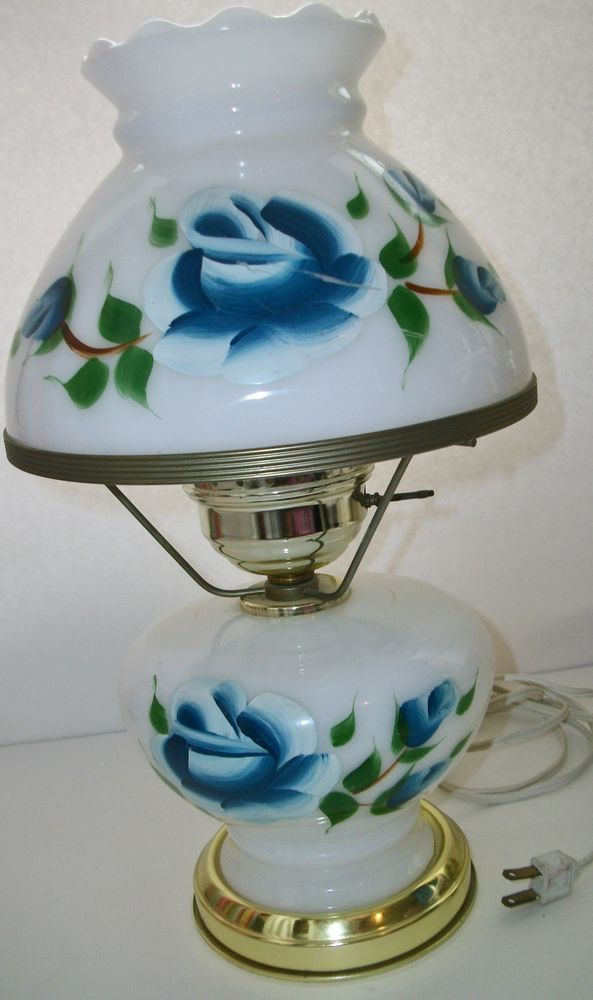 Vtg HAND PAINTED GONE WITH THE WIND GWTW Blue FLORAL ELECTRIC Table Lamp