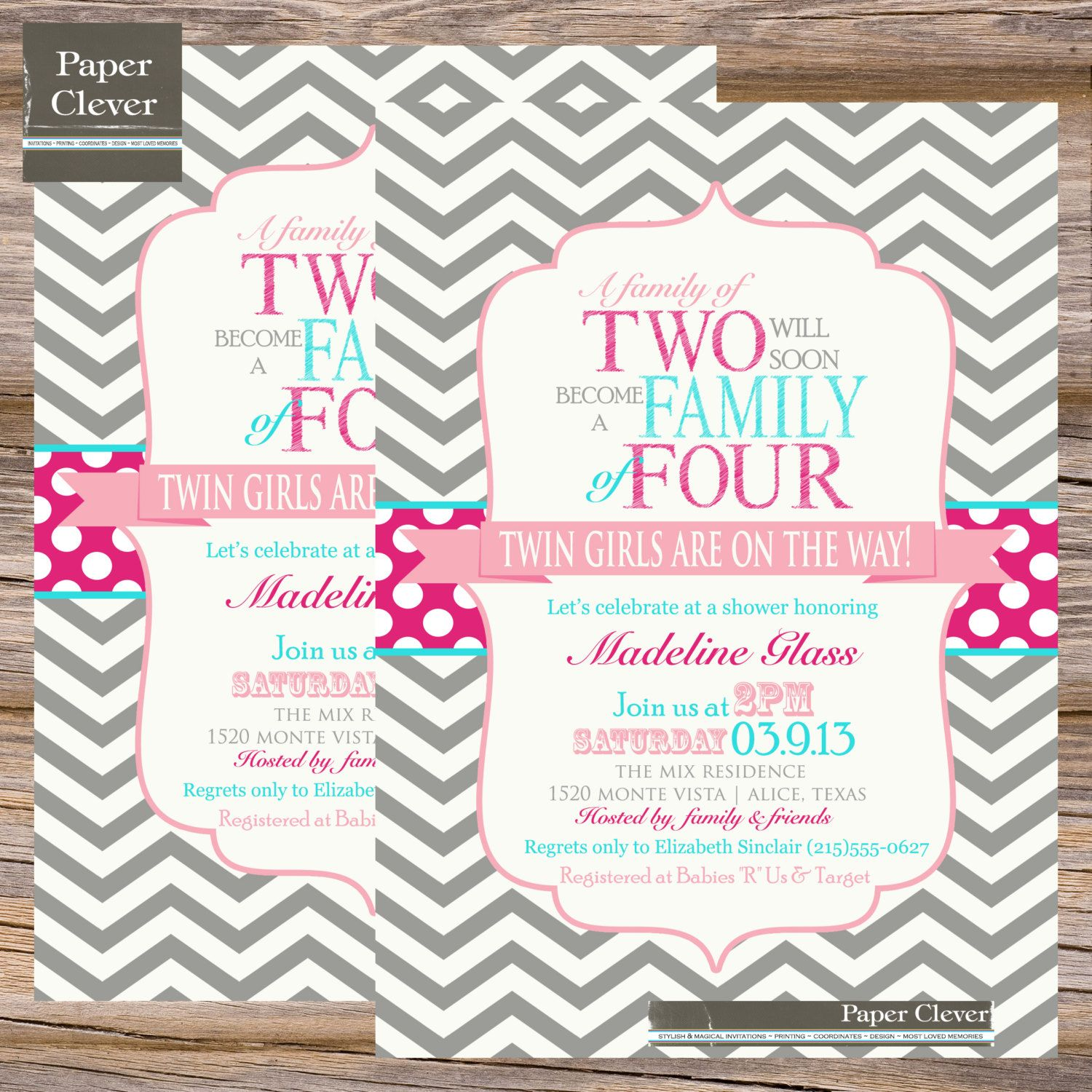 Twins Baby shower invitation family of four chevron stripe, hot pink ...