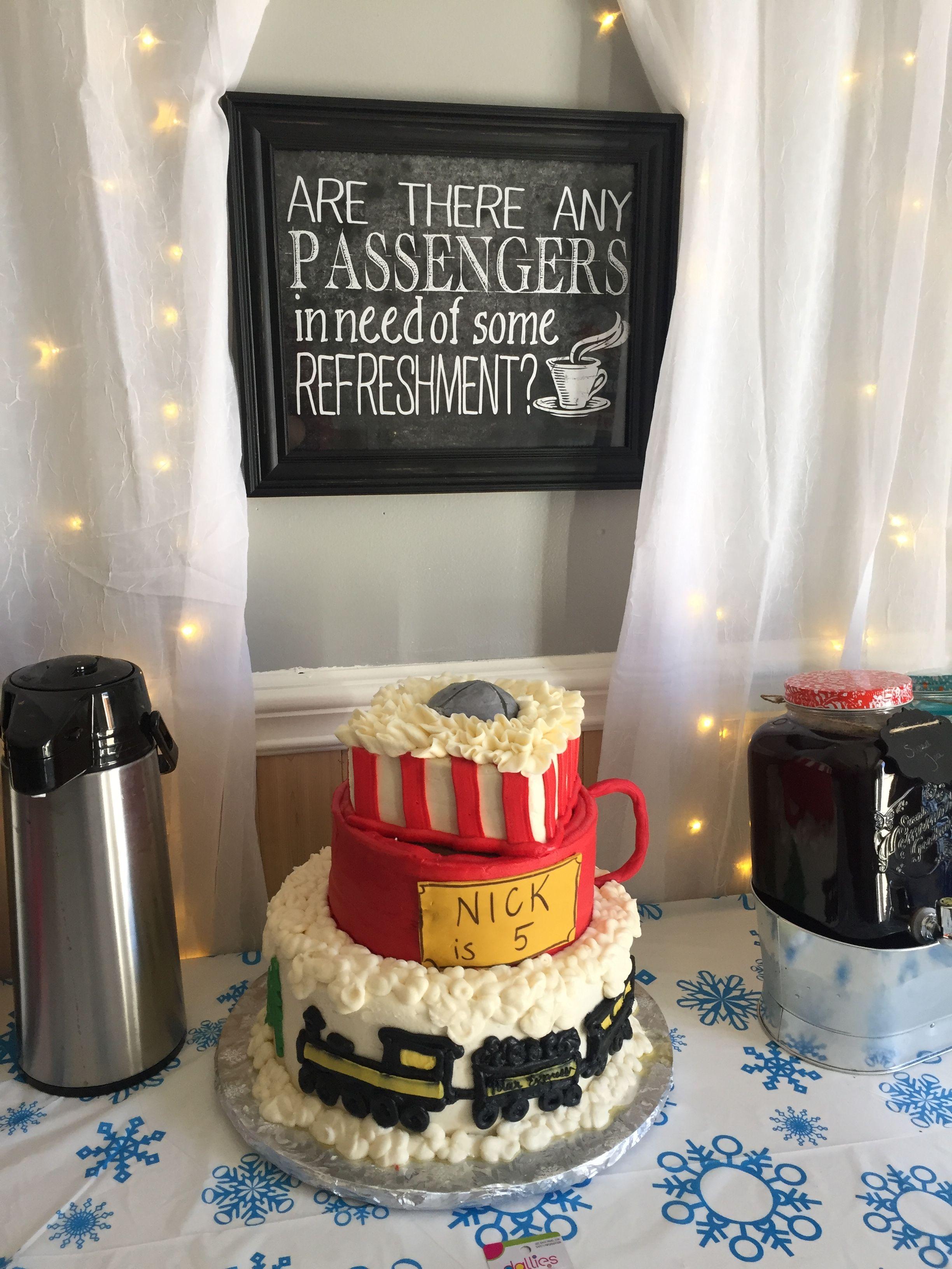 Awe Inspiring Polar Express Birthday Cake Polar Express Birthday Cake Polar Funny Birthday Cards Online Elaedamsfinfo