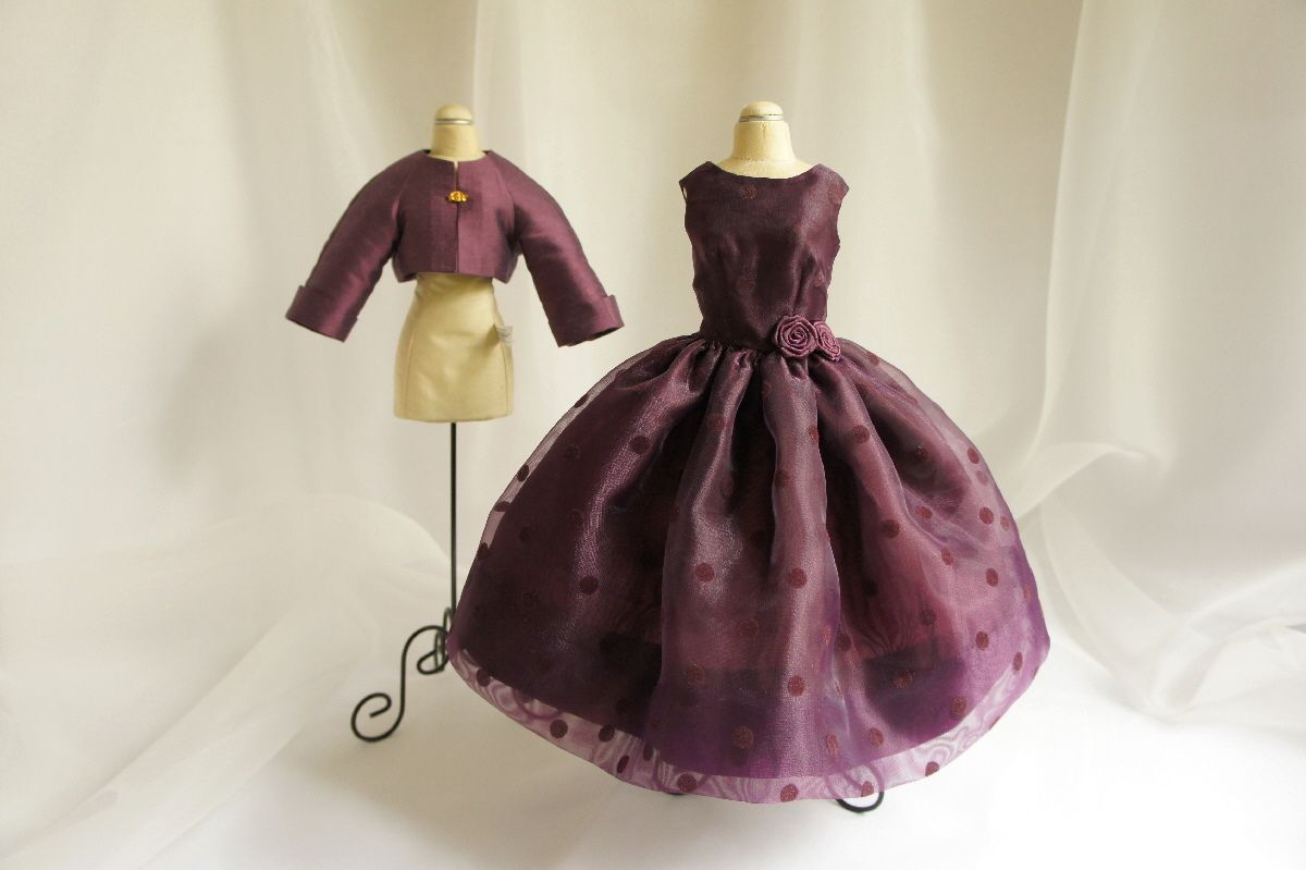 Plum-purple organza party dress with matching silk jacket and black evening gloves