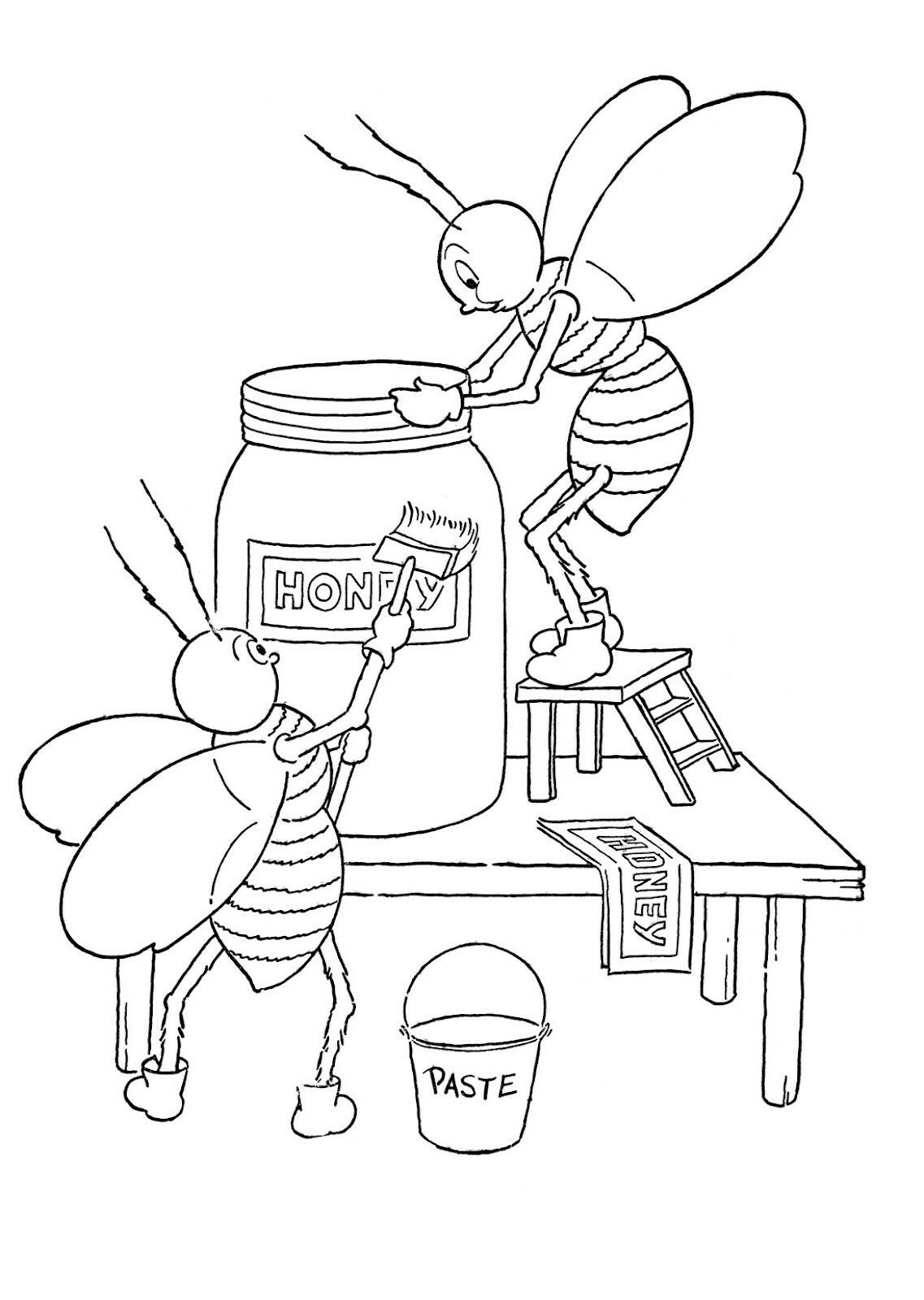 Cute Honey Bee Coloring Page | coloring pages | Pinterest | Abeja