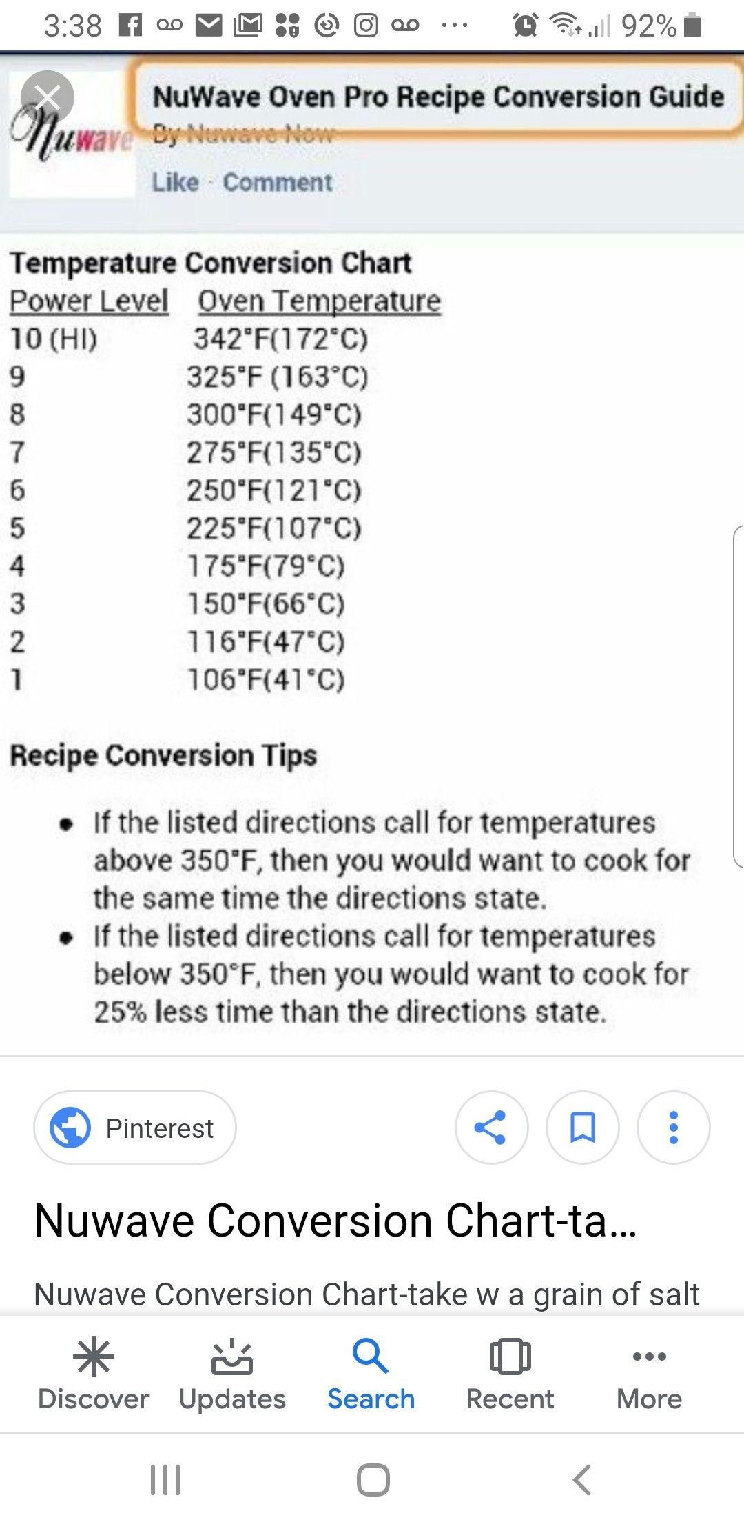Pin By Nola Pecora Cohran On Nuwave Oven Temperature Conversion Chart Recipe Conversions Nuwave