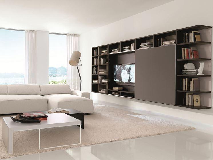 parete attrezzata marrone scuro arredamento soggiorno