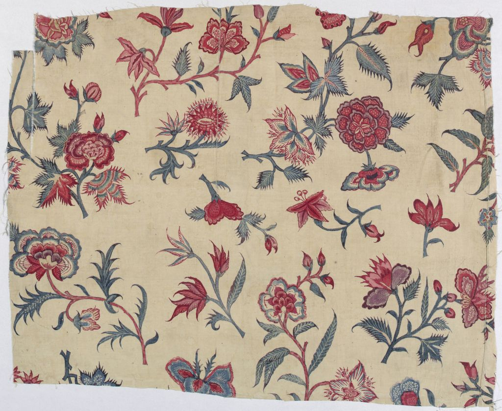 Three fragments from the same larger textile. Exotic flowering branches and scattered floral sprays in shades of violet, blue and red on a white ground. B. had one flower that matches a flower on A. and another flower which matches a flower on C.