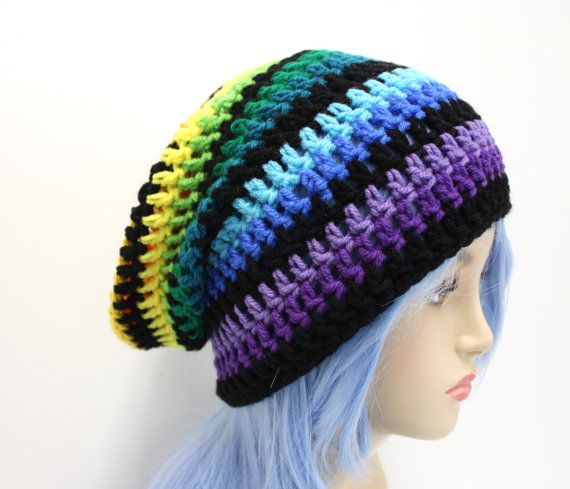 Regenbogen Mütze häkeln Slouchy Beanie Hipster Hut Style Slouch Beanie